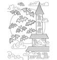 doodle halloween coloring book page spooky castle vector image vector image