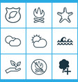 ecology icons set with cloudy weather protect vector image vector image