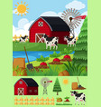 farm scene with many cows and barn vector image