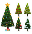 five christmas trees with ornaments vector image
