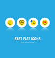 flat icon expression set of love winking tears vector image vector image