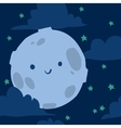 Funny moon with tiny stars seamless background vector image vector image