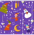 gnomes and snowman pine tree and xmas garlands vector image