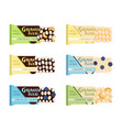granola bars chocolate caramel with grain berries vector image vector image