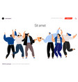 group smiling young people stand side side vector image