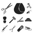 hairdresser and tools black icons in set vector image vector image