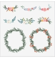 Hand drawn set of floral bouquets and wreath with vector image vector image