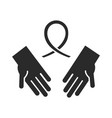 hands with ribbon together community vector image vector image