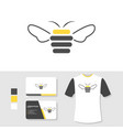 honey bee logo design with business card and t vector image