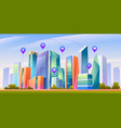 landscape with smart city and infographic icons vector image