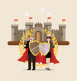 man and woman holding shield sword with golden vector image vector image