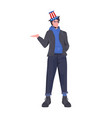 man in festive hat with usa flag celebrating 4th vector image
