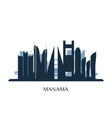 manama skyline monochrome silhouette vector image vector image