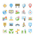 maps and navigation flat icons set 3 vector image vector image