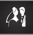 maried couple icon on black background for graphic vector image