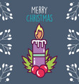 merry christmas celebration burning candle holly vector image vector image
