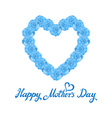 mother Day Heart Made of blue Roses bouquet of vector image