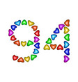 number 94 ninety four of colorful hearts on white vector image vector image