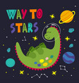 poster with a sleeping dinosaur in space vector image vector image