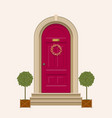 red front door of house with pot plants vector image