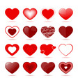 red hearts icons in different style vector image