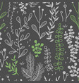 seamless border with doodle forest vector image vector image