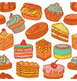 seamless colorful pattern with cupcakes cakes and vector image