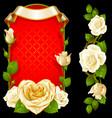 set floral decoration white roses green vector image