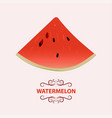slice of watermelon with red flesh and black seeds vector image