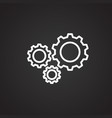 social gears on black background vector image