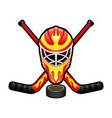 sports sign with a hockey goalkeeper helmet vector image
