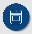 stove sign white contour icon in dark vector image vector image