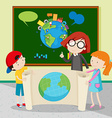 Students holding large world map vector image vector image