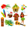 traditional symbols of hawaiian culture set vector image