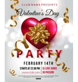 Valentines day party flyer with red heart gold vector image vector image