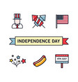 4th july patriotic icons independence day of vector image