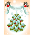 christmas tree with red ball vector image