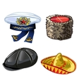Set of different hats from cap to sombrero vector image