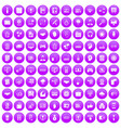 100 web development icons set purple vector image vector image