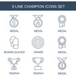 9 champion icons vector image vector image