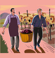 a man and a boy carrying a basket full of freshly vector image vector image