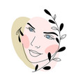 abstract face line drawing beauty woman portrait vector image vector image