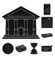 bank and money symbol set vector image vector image