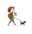 boy walking with dog sketch for your design vector image