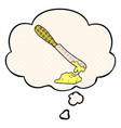 cartoon knife spreading butter and thought bubble vector image vector image