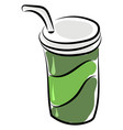 coffee in green cup on white background vector image vector image