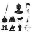 country mongolia black icons in set collection for vector image vector image