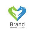 creative horses love logo concept vector image