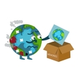damaged earth cartoon throwing picture of previous vector image vector image