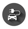 electro car icon in flat style electric vector image